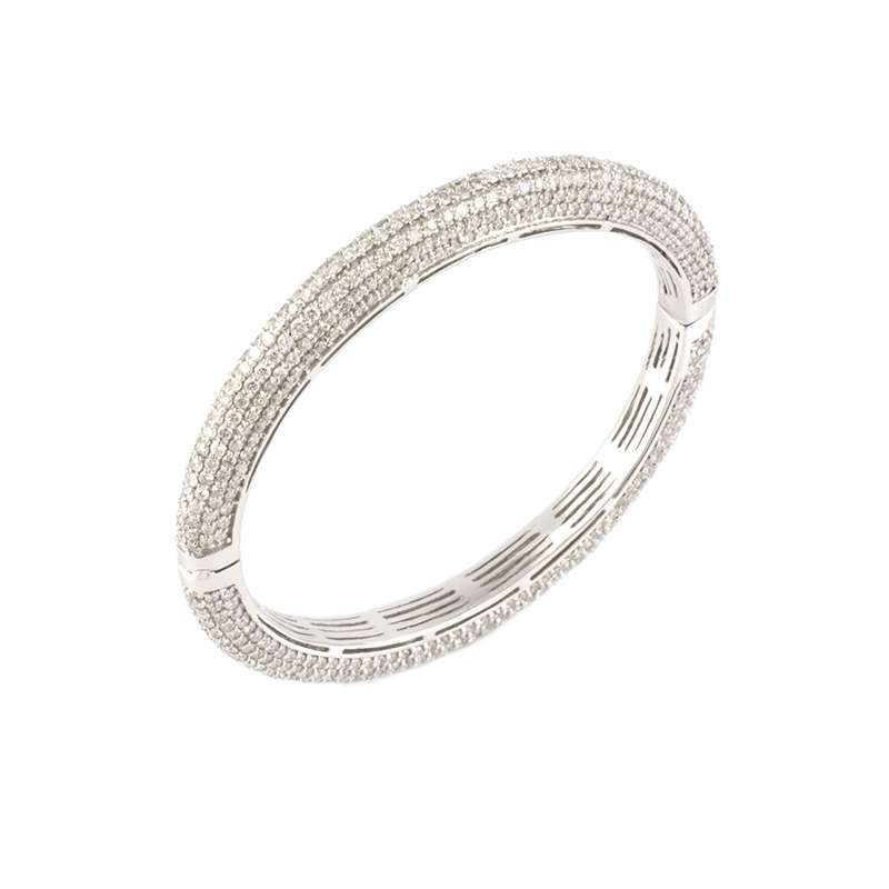 18k White Gold Diamond Pave Set Bracelet 10.18ct